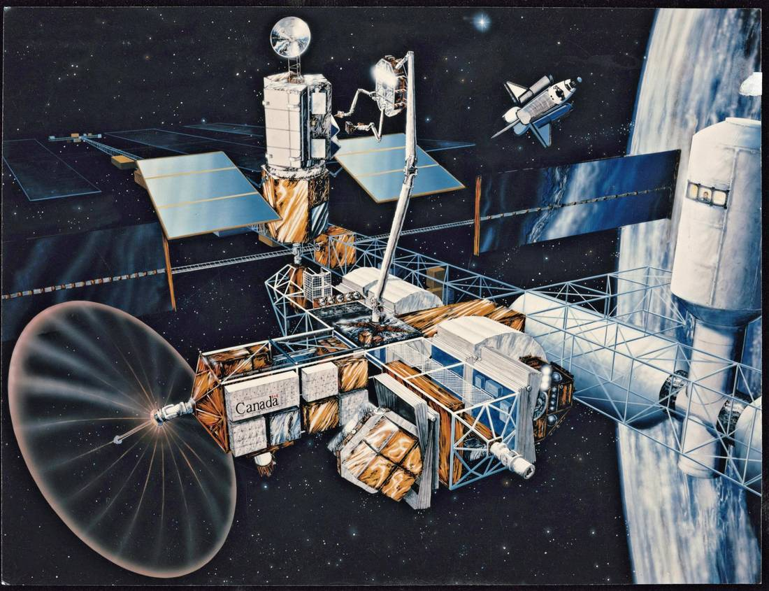 n artist's impression of a proposed Canadian integrated service and test facility, which would be built on a U.S. space station. It would be used to service, test and repair space vehicles, satellites and other structures.